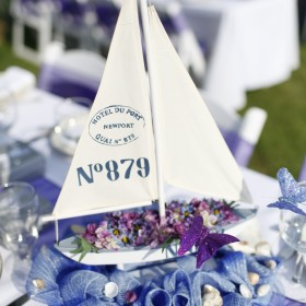 Mr. and Mrs. Jackson sailboat centerpiece