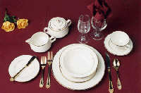 ACTION PARTY RETAL IVORY WITH GOLD BAND dinnerware-ba